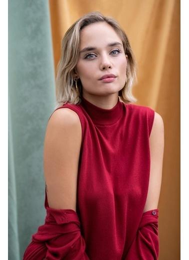 Silk and Cashmere More Edelina Modal Ve Pamuklu Yüksek Yaka Kolsuz Triko Kırmızı
